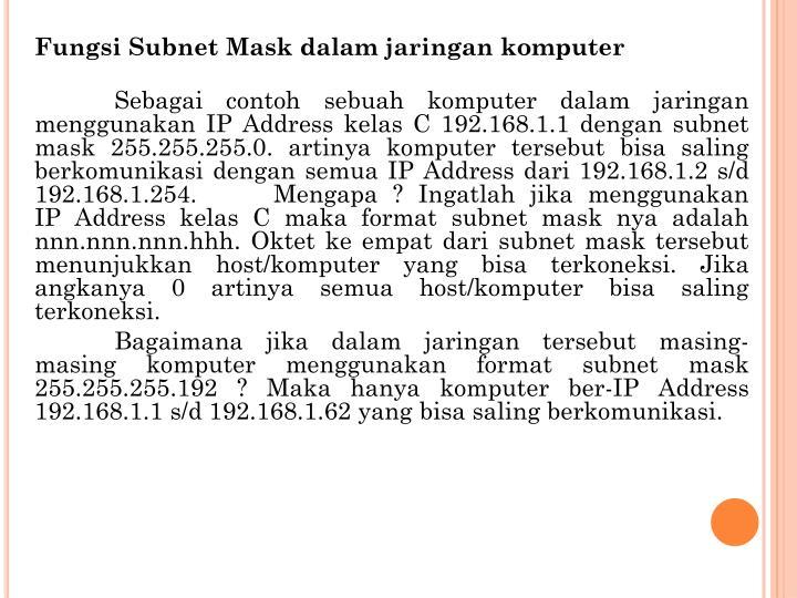 Fungsi Subnet Mask dalam jaringan komputer