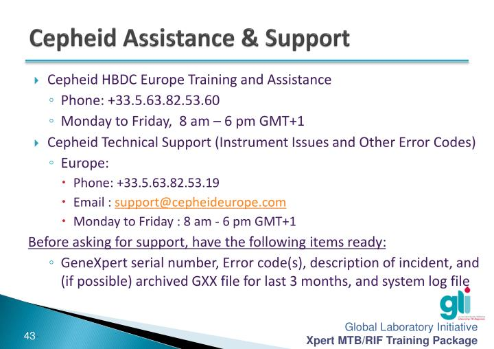 Cepheid Assistance & Support