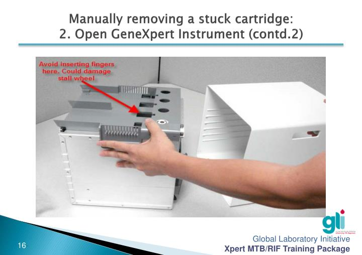Manually removing a stuck cartridge: