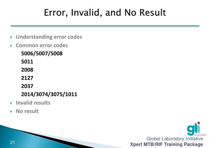 Error, Invalid, and No Result