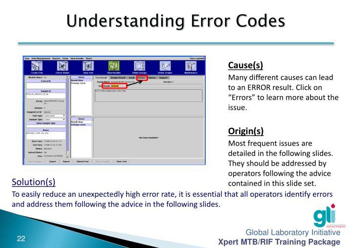 Understanding Error Codes