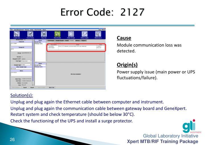 Error Code:  2127