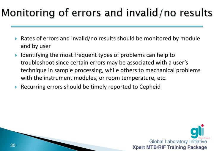 Monitoring of errors and invalid/no results