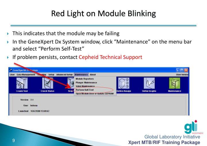 Red Light on Module Blinking
