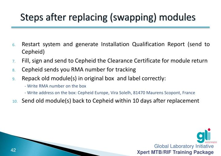 Steps after replacing (swapping) modules