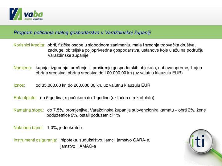 Program poticanja malog gospodarstva u Varaždinskoj županiji