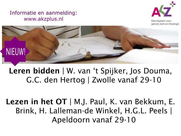 Informatie en aanmelding: