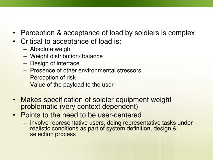 Perception & acceptance of load by soldiers is complex