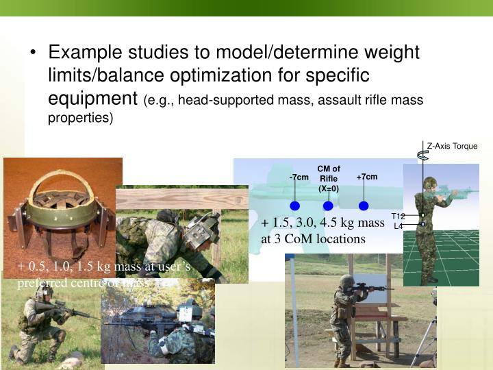 Example studies to model/determine weight limits/balance optimization for specific equipment