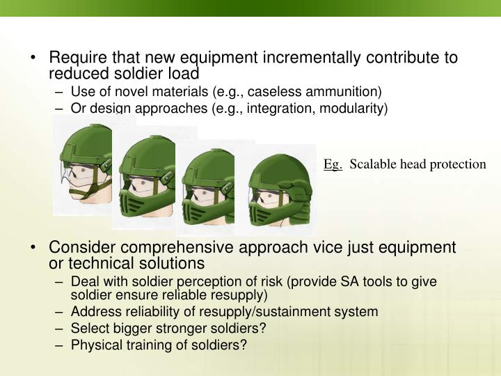 Require that new equipment incrementally contribute to reduced soldier load