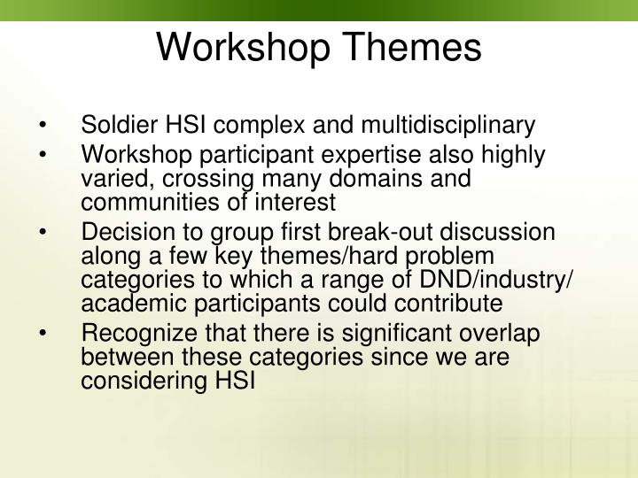 Soldier HSI complex and multidisciplinary