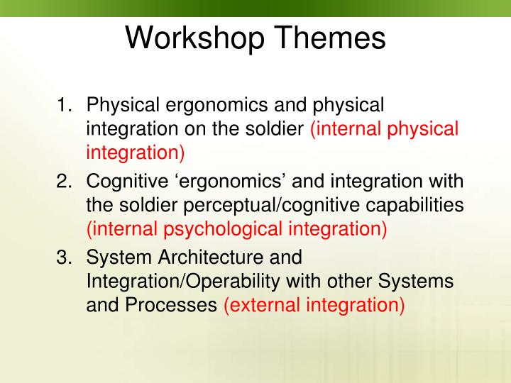 Physical ergonomics and physical integration on the soldier