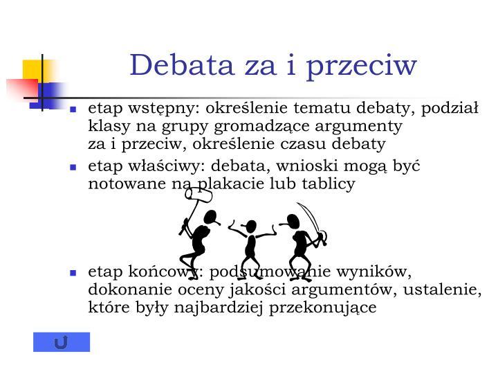 Debata za i przeciw