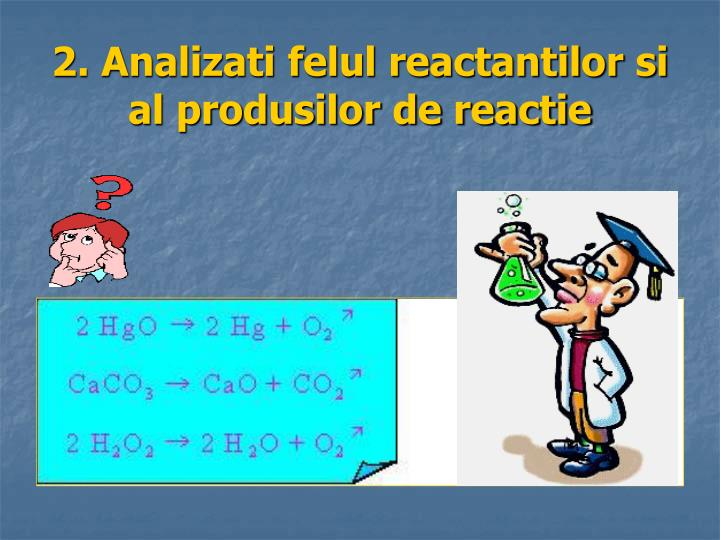 2. Analizati felul reactantilor si al produsilor de reactie