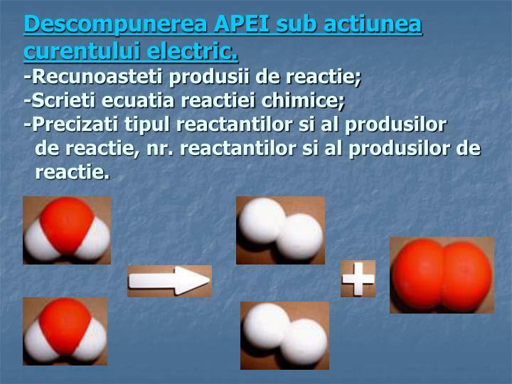Descompunerea APEI sub actiunea curentului electric.