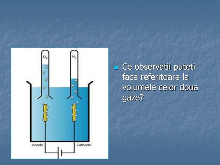 Ce observatii puteti face referitoare la volumele celor doua gaze?