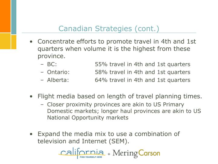 Canadian Strategies (cont.)