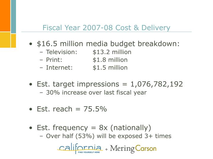 Fiscal Year 2007-08 Cost & Delivery
