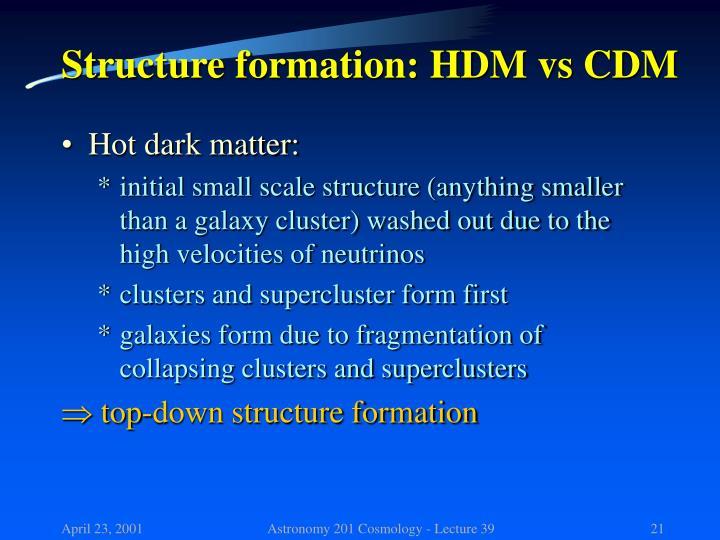Structure formation: HDM vs CDM