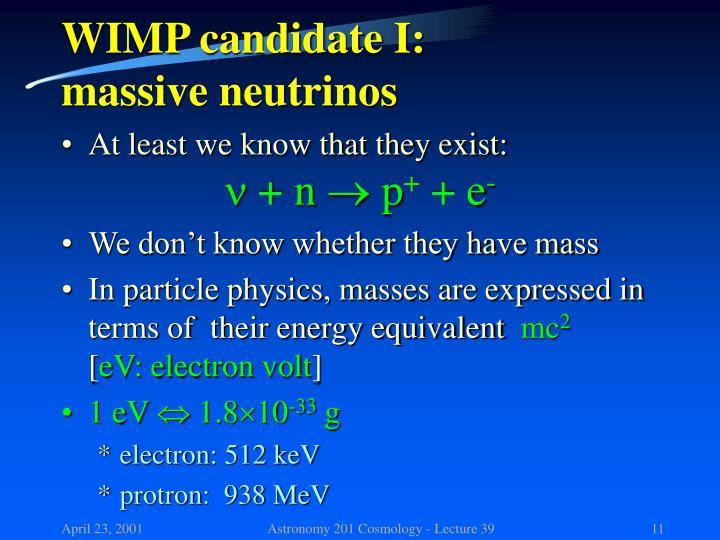 WIMP candidate I: