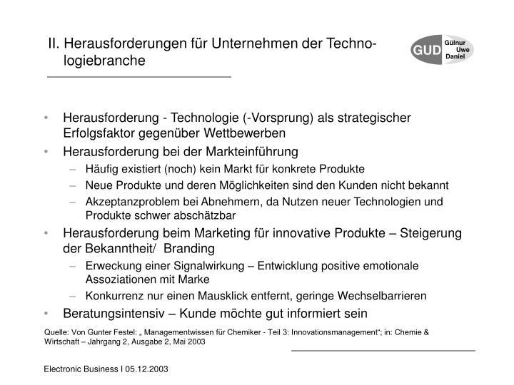 II. Herausforderungen für Unternehmen der Techno-