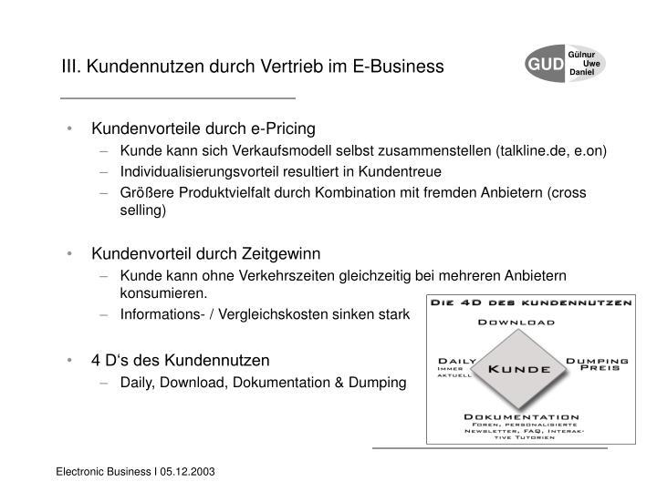 III. Kundennutzen durch Vertrieb im E-Business