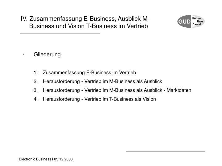 IV. Zusammenfassung E-Business, Ausblick M-