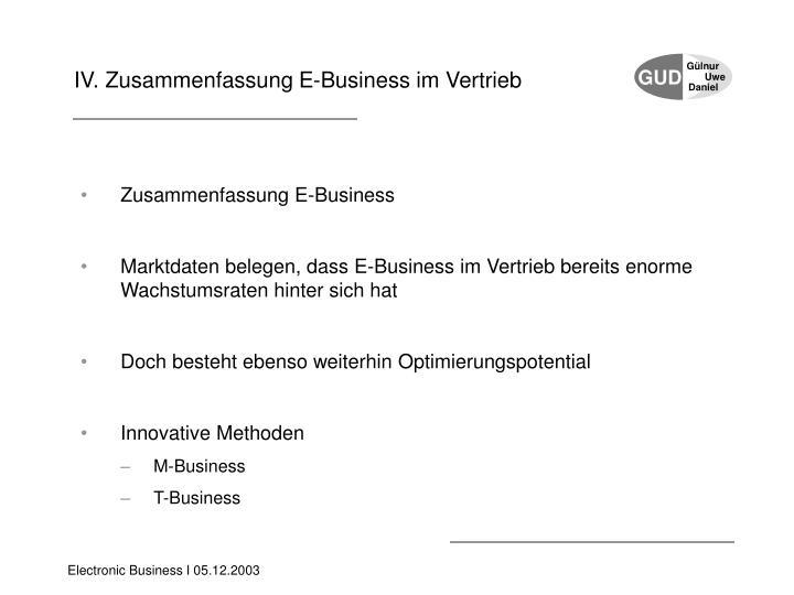 IV. Zusammenfassung E-Business
