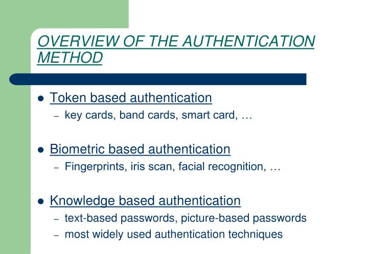 OVERVIEW OF THE AUTHENTICATION METHOD