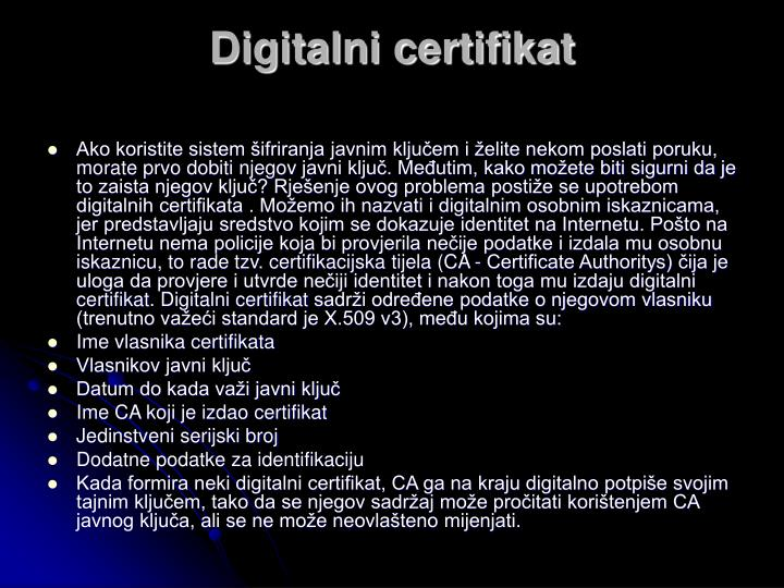 Digitalni certifikat