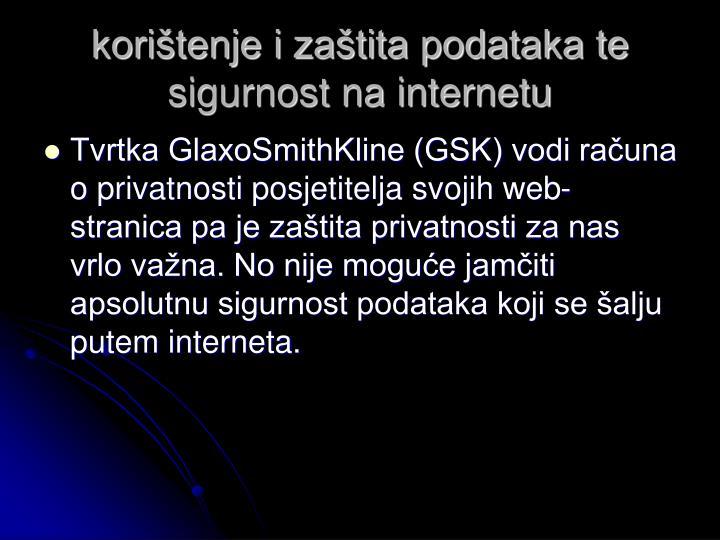 korištenje i zaštita podataka te sigurnost na internetu
