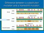 difference between a substitution mutation and a frameshift mutation