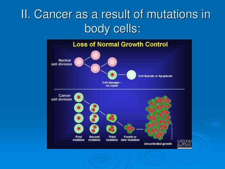 II. Cancer as a result of mutations in body cells: