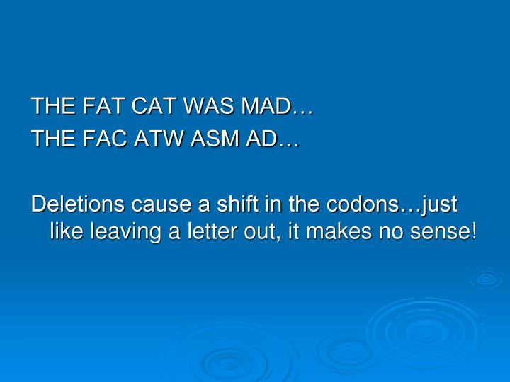 THE FAT CAT WAS MAD…