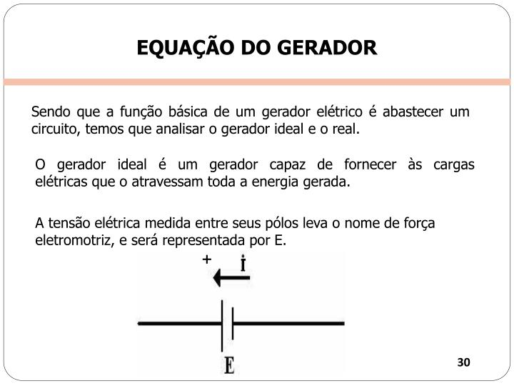 EQUAÇÃO DO GERADOR