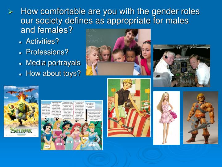 How comfortable are you with the gender roles our society defines as appropriate for males and females?