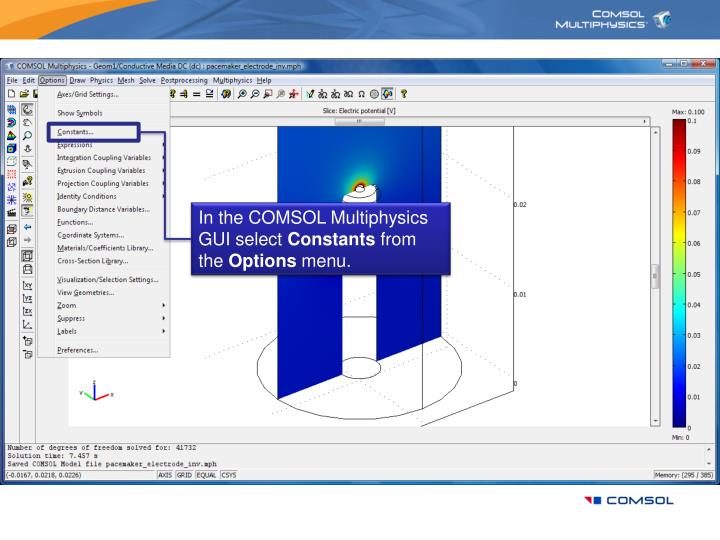 In the COMSOL Multiphysics GUI select
