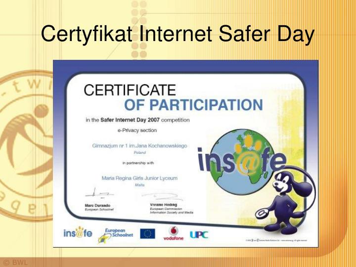 Certyfikat Internet Safer Day
