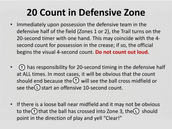20 Count in Defensive Zone