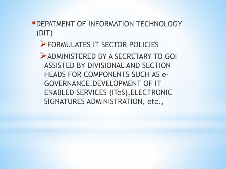 DEPATMENT OF INFORMATION TECHNOLOGY (DIT)