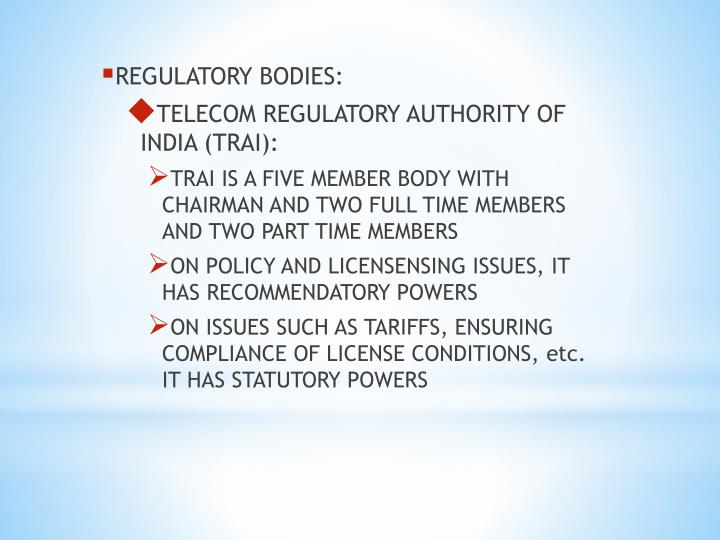 REGULATORY BODIES: