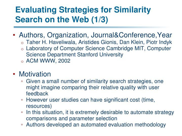Evaluating Strategies for Similarity Search on the Web (1/3)