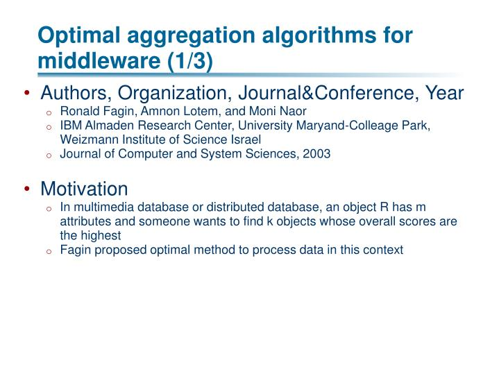 Optimal aggregation algorithms for middleware (1/3)