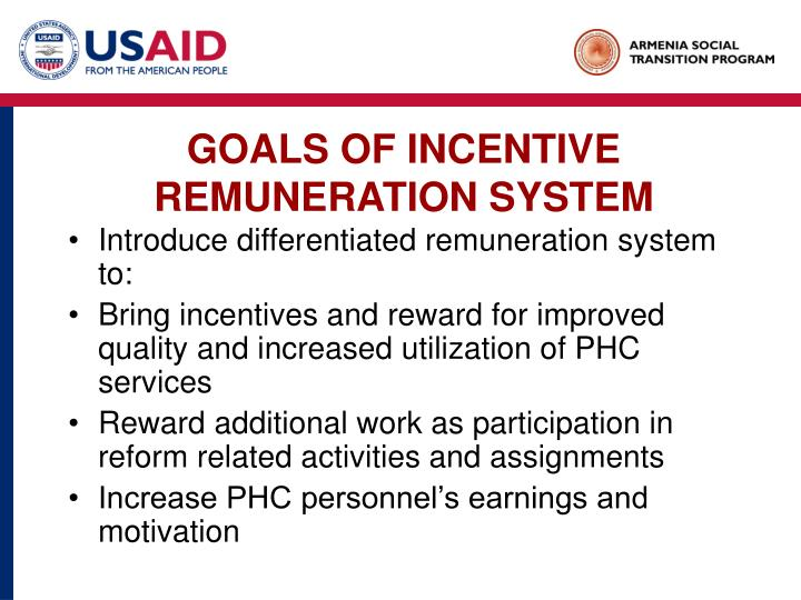 GOALS OF INCENTIVE REMUNERATION SYSTEM