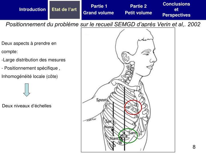 Positionnement du problème sur le recueil SEMGD d'après Verin et al,. 2002