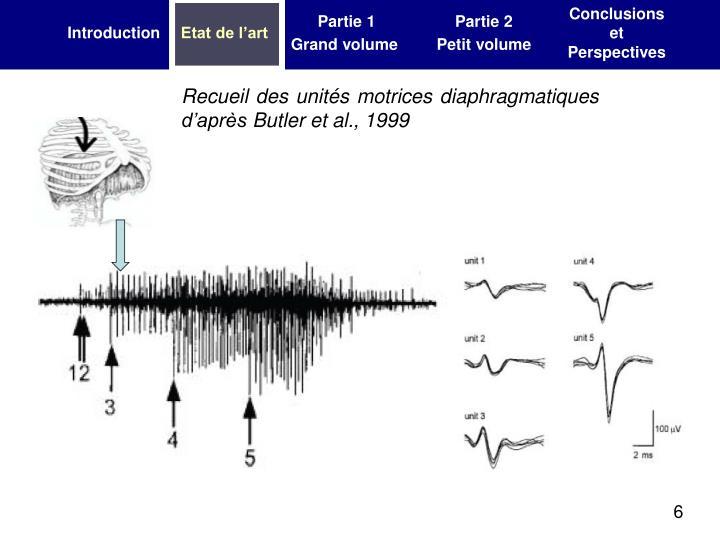Recueil des unités motrices diaphragmatiques d'après Butler et al., 1999