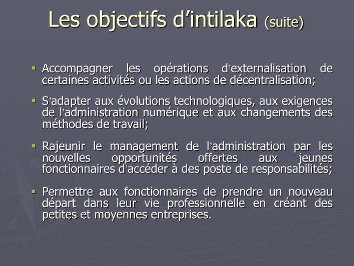 Les objectifs d'intilaka