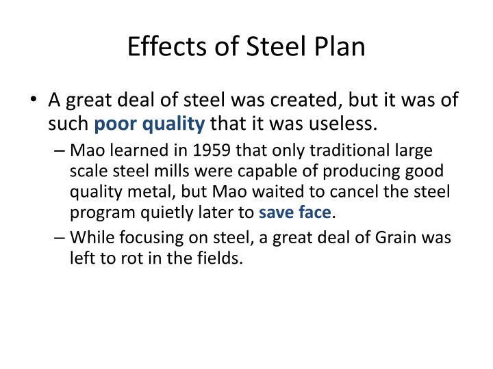 Effects of Steel Plan