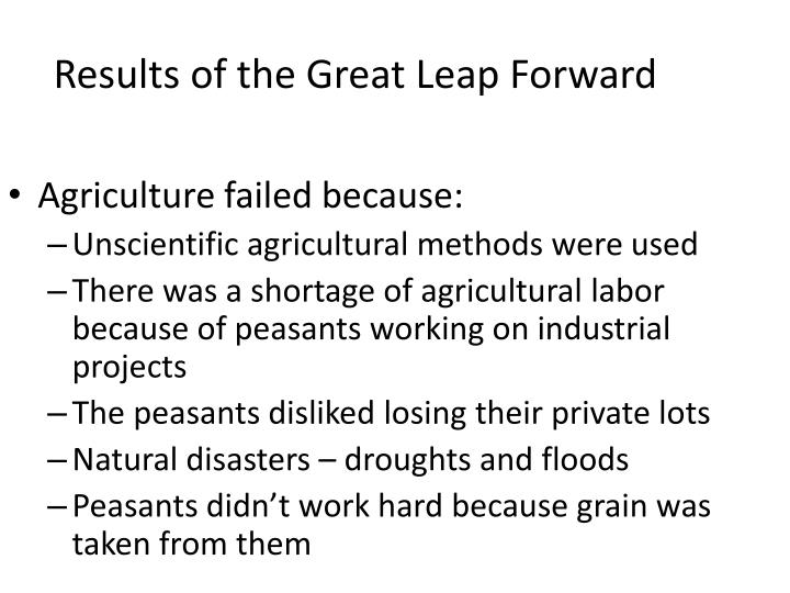 Results of the Great Leap Forward