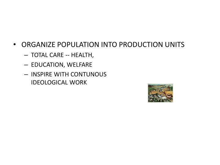 ORGANIZE POPULATION INTO PRODUCTION UNITS